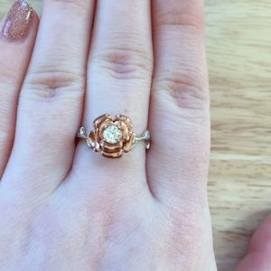 Rose Flower Ring Thorn in Silver and Gold With CZ